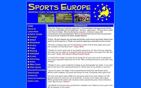 Screenshot of Testimonials Page sports-europe.co.uk - Sports Europe - Testimonials - captured Sept. 30, 2014