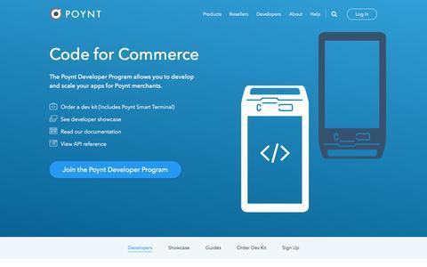 Screenshot of Developers Page poynt.com - Developers - captured June 16, 2017
