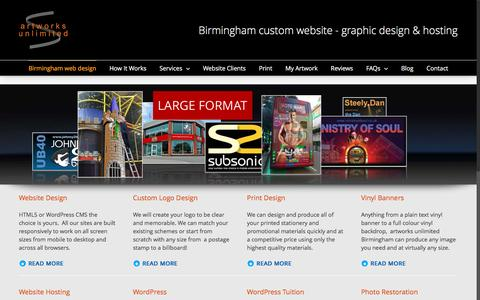 Screenshot of Home Page artworks-unlimited.co.uk - Birmingham web design – artworks unlimited - captured Jan. 3, 2017