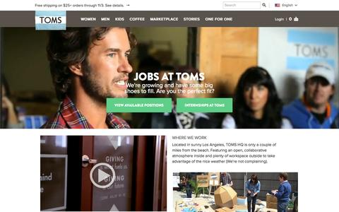 Screenshot of Jobs Page toms.com - TOMS : One for One - captured Sept. 17, 2014