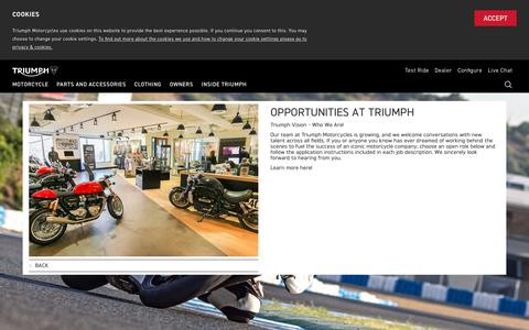 Screenshot of Jobs Page triumphmotorcycles.com - Opportunities at Triumph America | Triumph Motorcycles - captured Sept. 27, 2018