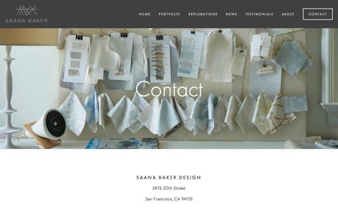 Screenshot of Contact Page saanabaker.com - Contact — - captured Nov. 17, 2016