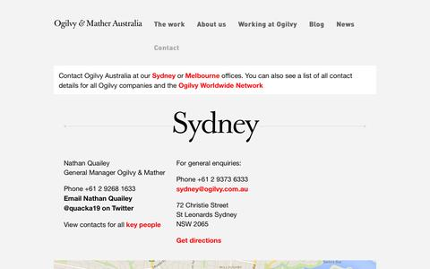 Screenshot of Contact Page ogilvy.com.au - Ogilvy Australia | Contact us - captured Oct. 7, 2014