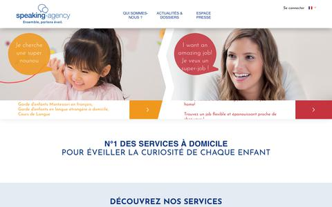 Screenshot of Home Page speaking-agency.com - Garde d'Enfants à domicile (babysitting, nounou) & Cours d'Anglais | Speaking-Agency - captured Sept. 23, 2018