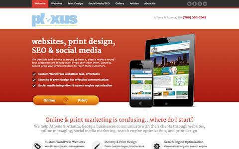 Screenshot of Home Page plexusweb.com - Athens GA Web Design with Wordpress, Print Design, Social Media Marketing, SEO | Athens GA, Atlanta Georgia | Plexus, Inc. - captured Sept. 24, 2014