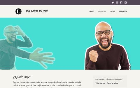 Screenshot of About Page dilmerduno.com - ¿Quién soy? – Dilmer Duno - captured Oct. 21, 2018