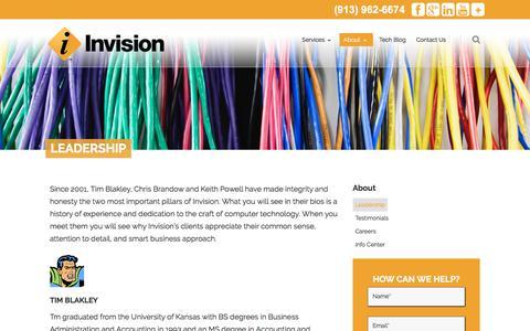 Screenshot of Team Page invisionkc.com - Leadership | Invision | Kansas City IT Management - captured Oct. 7, 2017