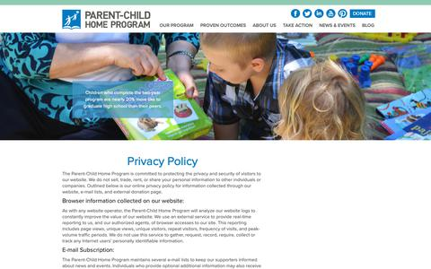 Screenshot of Privacy Page parent-child.org - Privacy Policy - Parent-Child Home ProgramParent-Child Home Program - captured Oct. 20, 2018