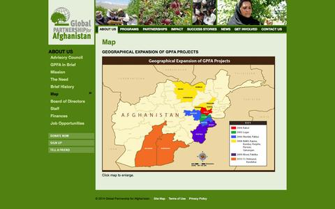 Screenshot of Maps & Directions Page gpfa.org - Map - Global Partnership for Afganistan - captured Oct. 3, 2014