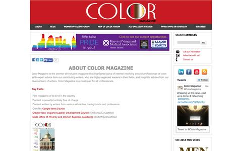 Screenshot of About Page colormagazineusa.com - Color Magazine - About - captured Oct. 3, 2014
