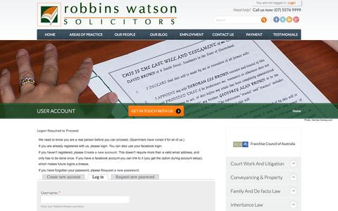 Screenshot of Login Page robbinswatson.com.au - User account - captured Oct. 6, 2014
