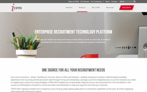 Screenshot of Products Page icims.com - iCIMS Talent Acquisition - Recruitment Technology Platform - captured May 8, 2019