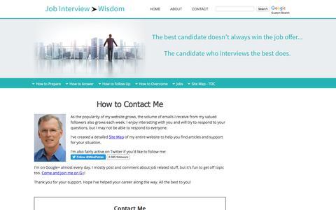 Screenshot of Contact Page job-interview-wisdom.com - Contact Us - captured Oct. 28, 2017