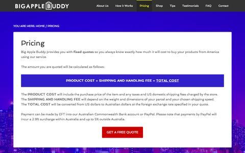 Screenshot of Pricing Page bigapplebuddy.com - Pricing - Big Apple Buddy - captured Sept. 30, 2014