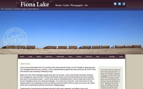 Screenshot of Testimonials Page fionalake.com.au - Australian coffee table books, outback cattle station photos, country landscapes - Fiona Lake - captured Jan. 17, 2016