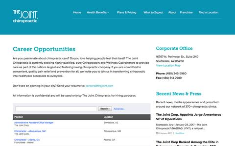 Screenshot of Jobs Page thejoint.com - Career Opportunities | The Joint Chiropractic - captured Feb. 13, 2017