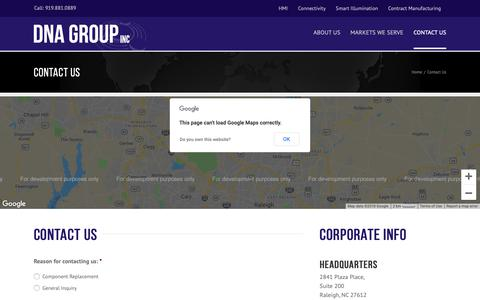 Screenshot of Contact Page dnagroup.com - Contact Us - DNA Group - captured Oct. 7, 2018