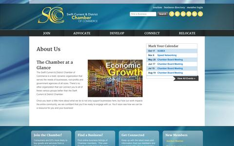 Screenshot of About Page swiftcurrentchamber.ca - Swift Current & District Chamber of Commerce | About Us - captured Oct. 7, 2014