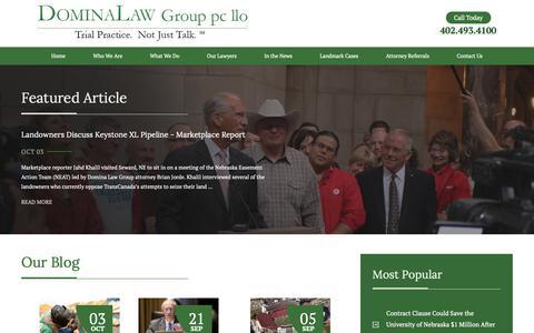 Screenshot of Blog Press Page dominalaw.com - Domina Law Group Blog | Nebraska Trial Lawyers - captured Oct. 9, 2018