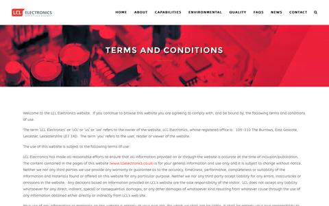Screenshot of Terms Page lclelectronics.co.uk - Terms and Conditions – LCL Electronics - captured July 9, 2016