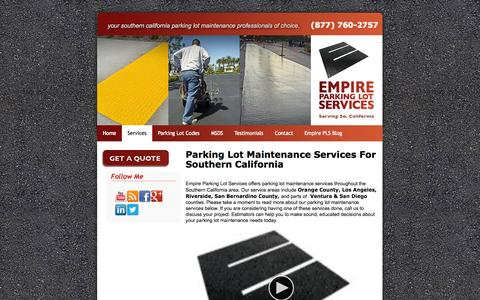 Screenshot of Services Page empirepls.com - Parking Lot Maintenance Services Southern California - captured Oct. 2, 2014