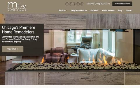 Screenshot of Home Page m5chicago.com - Chicago Home Remodeling and Renovation   Mfive Chicago - captured Sept. 6, 2015