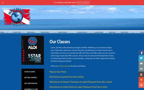 Screenshot of Maps & Directions Page nolimitsscuba.com - Scuba Diving Lessons,classes,instruction and Instructor Development at No Limits Scuba - captured Oct. 26, 2014