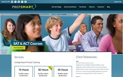Screenshot of Home Page prepsmart.net - PrepSmart - captured Sept. 30, 2014