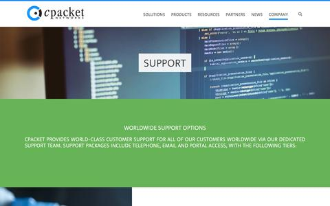 Screenshot of Support Page cpacket.com - Support - cPacket Networks - captured Nov. 15, 2016