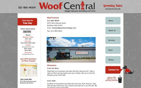 Screenshot of Contact Page Maps & Directions Page woofcentraldogs.com - Woof Central Dog Daycare - Contact Us - captured Oct. 26, 2014
