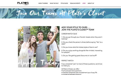Screenshot of Jobs Page platosclosethouston.com - Join a Team at Plato's Closet in the Houston Area - captured July 19, 2018