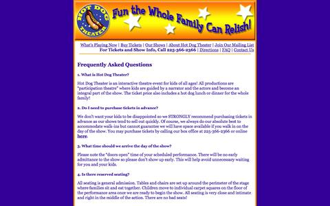 Screenshot of FAQ Page hotdogtheater.com - Frequently Asked Questions about Hot Dog Theatre - captured Sept. 30, 2014
