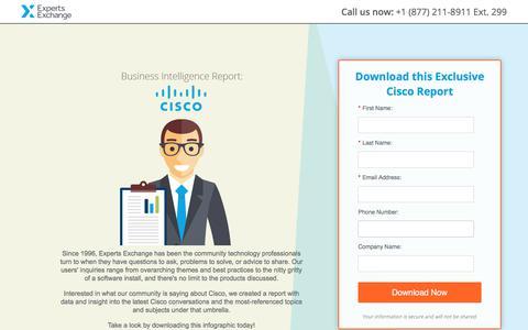 Screenshot of Landing Page experts-exchange.com - Business Intelligence Report: Cisco - captured Sept. 11, 2017