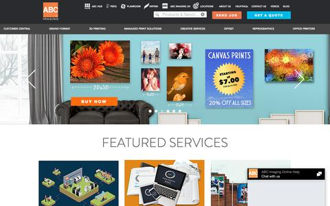 Screenshot of Home Page abcimaging.com - Printing Services| One Stop Print Solutions – ABC Imaging - captured July 27, 2018
