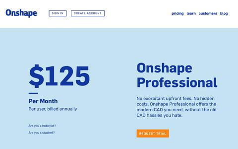 Screenshot of Pricing Page onshape.com - CAD Pricing | Onshape - captured Jan. 3, 2018