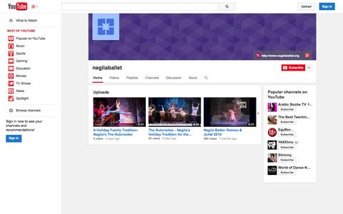 Screenshot of YouTube Page youtube.com - negliaballet  - YouTube - captured Oct. 29, 2014