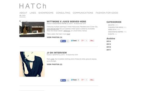 Screenshot of Blog hatchinc.com - Blog | HATCh | Fashion Showroom New York, Los Angeles, Dallas, James Perse, Disney, Victoria Beckham, Soludos - captured Oct. 1, 2014