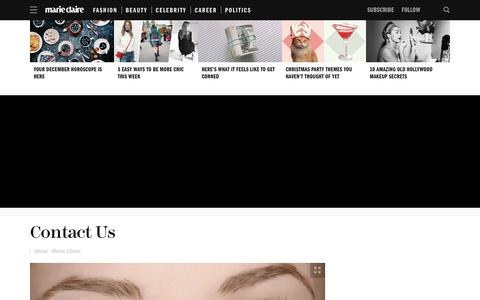 Screenshot of Contact Page marieclaire.com - Contact Marie Claire Magazine   Submission Guidelines - captured Dec. 3, 2015