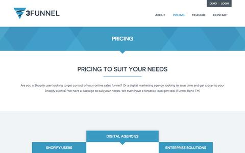 Screenshot of Pricing Page 3funnel.com - Best Price Conversion Rate Optimisation Software, Funnel Analysis Tool - captured June 16, 2015