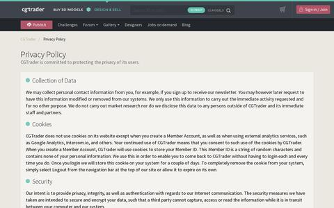 Screenshot of Privacy Page cgtrader.com - Privacy Policy - CGTrader.com - captured July 18, 2014