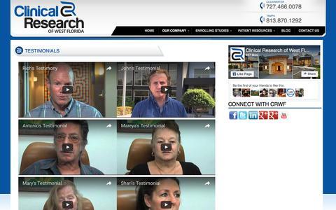Screenshot of Testimonials Page crwf.com - TESTIMONIALS «  Tampa Clinical Research | Clinical Research of West Florida - captured Nov. 7, 2016