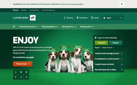Screenshot of Home Page lloydsbank.com - Lloyds Bank - Personal Banking, Personal Finances & Bank Accounts - captured July 24, 2015