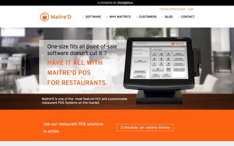 Screenshot of Home Page maitredpos.com - Maitre'D POS for Restaurants | Restaurant Management Solutions - captured Jan. 20, 2016
