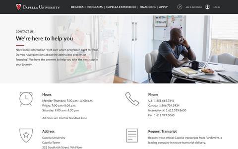 Screenshot of Contact Page capella.edu - Contact Us - captured April 19, 2018