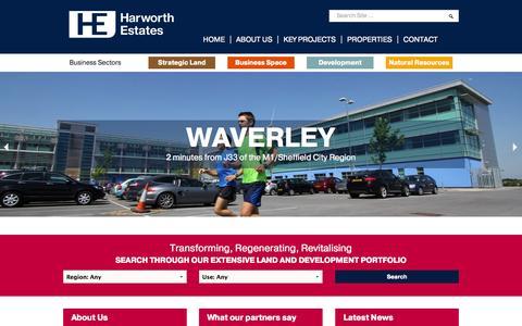 Screenshot of Home Page harworthestates.co.uk - Harworth Estates | Transforming, Regenerating, Revitalising - captured Sept. 29, 2014
