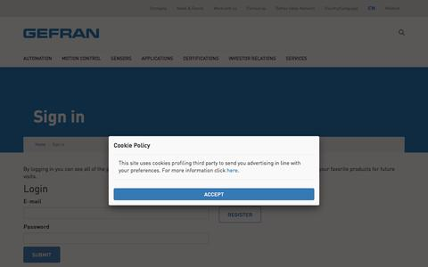 Screenshot of Login Page gefran.com - Gefran - captured July 12, 2016