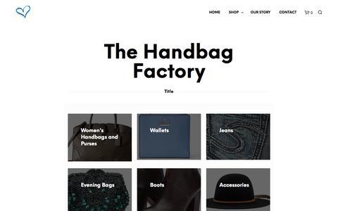 Screenshot of Home Page handbag-factory.com - The Handbag Factory - The Handbag Factory - High-Quality Handbags & Clothing - captured June 30, 2018