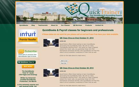 Screenshot of Products Page quicktrainer.net - Quickbooks Classes for beginners & professionals - QuickTrainer, Inc. - captured Oct. 3, 2014