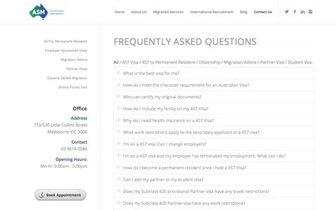 Screenshot of FAQ Page australianskilledmigration.com.au - Frequently Asked Questions | Australian Skilled Migration - captured July 31, 2018