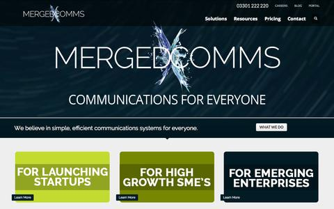 Screenshot of Home Page mergedcomms.com - MergedComms | Orbit Hosted VoIP - captured Sept. 30, 2014